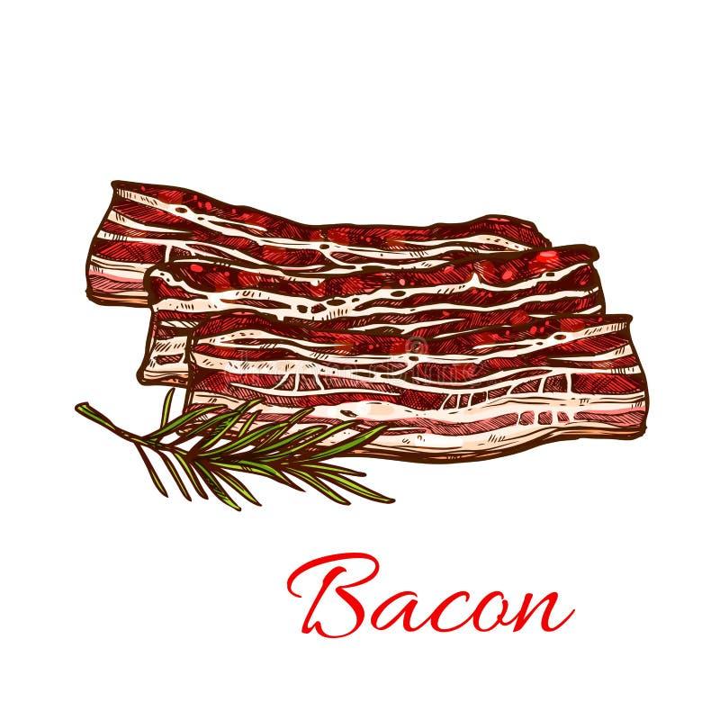 Vectorpictogram van vers baconvlees voor slachterij stock illustratie