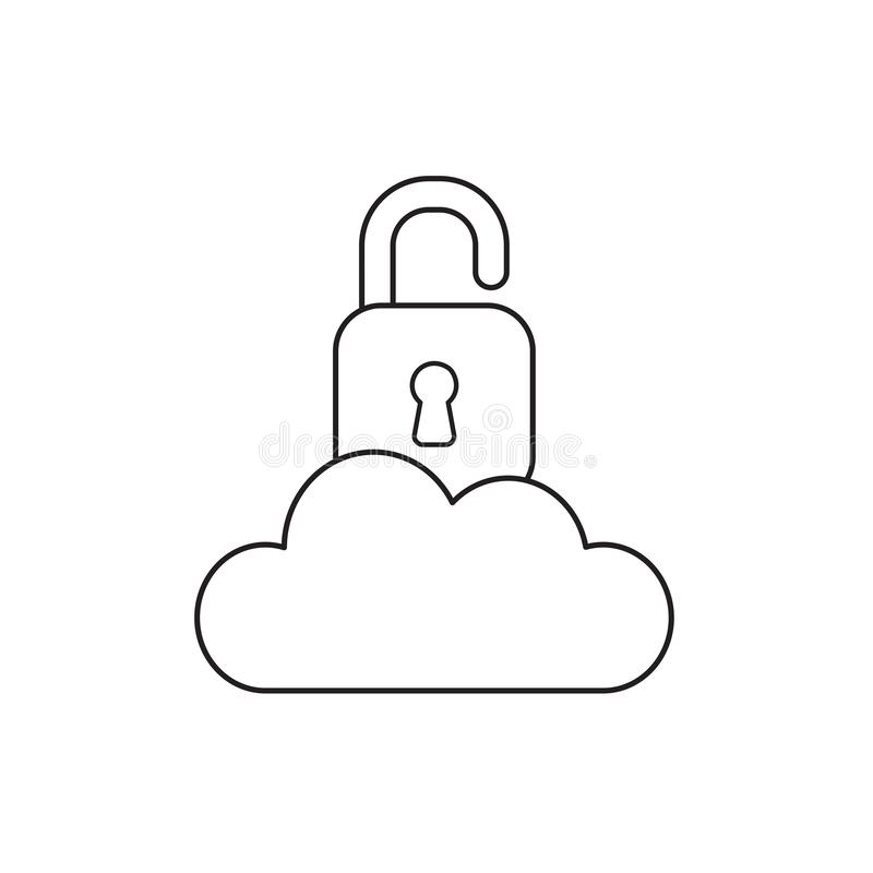 Vectorpictogramconcept geopend hangslot op wolk Zwart overzicht stock illustratie