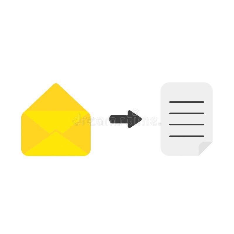 Vectorpictogramconcept geopende postenvelop met geschreven document royalty-vrije illustratie