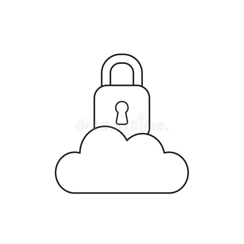 Vectorpictogramconcept gesloten hangslot op wolk Zwart overzicht royalty-vrije illustratie