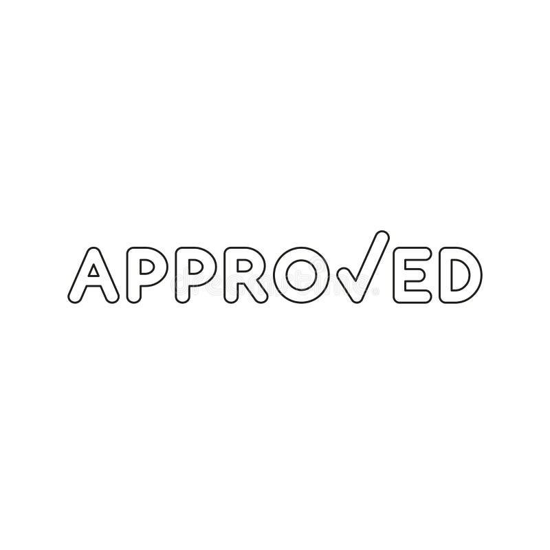 Vectorpictogramconcept goedgekeurd woord met vinkje Zwart overzicht royalty-vrije illustratie
