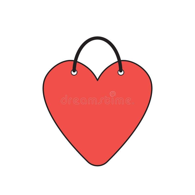 Vectorpictogramconcept hart-vormige het winkelen zak stock illustratie