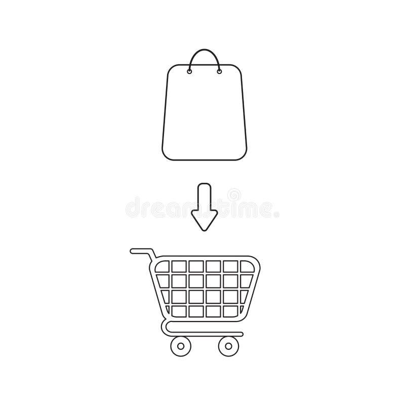 Vectorpictogramconcept het winkelen zak binnen boodschappenwagentje stock illustratie