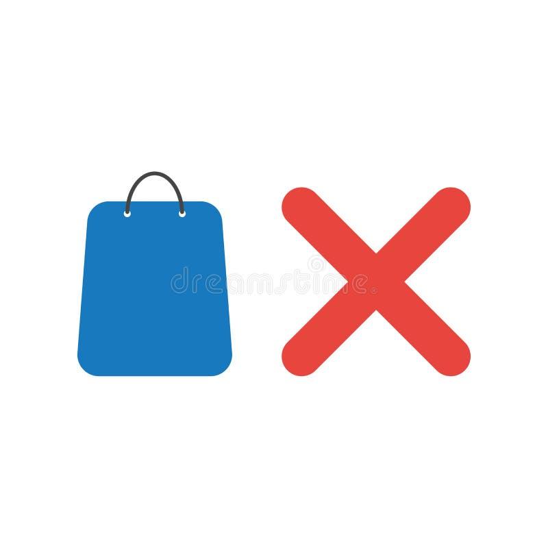 Vectorpictogramconcept het winkelen zak met x-teken royalty-vrije illustratie