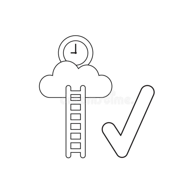Vectorpictogramconcept kloktijd op wolk met houten ladder en vinkje Zwart overzicht vector illustratie