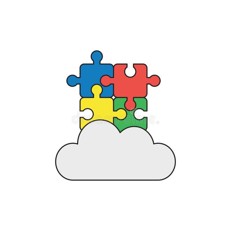Vectorpictogramconcept vier verbonden raadselstukken op wolk Zwarte overzichten en gekleurd royalty-vrije illustratie