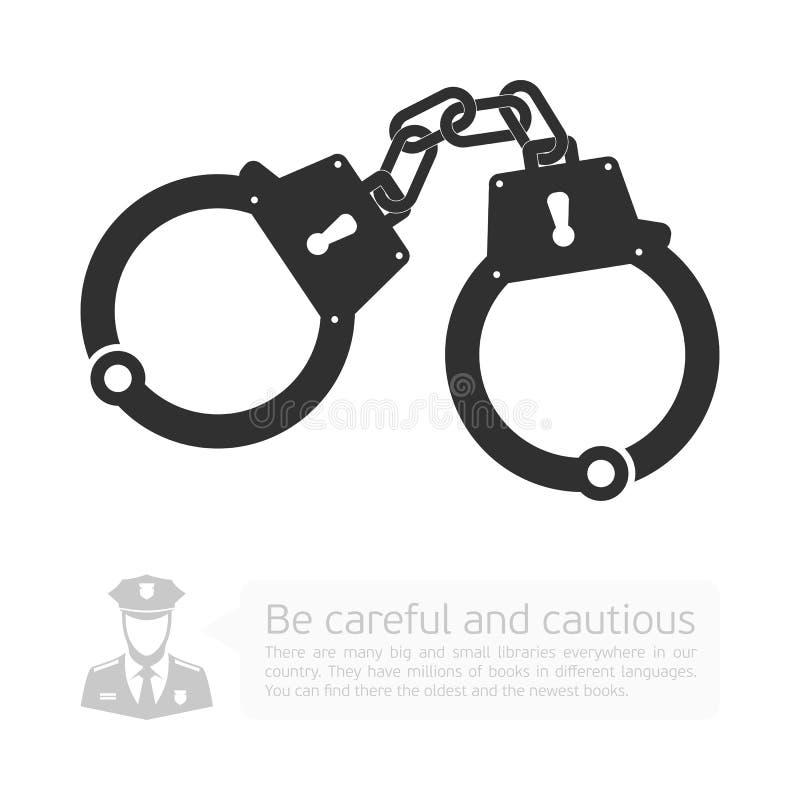 Vectorpictogramhandcuffs stock illustratie