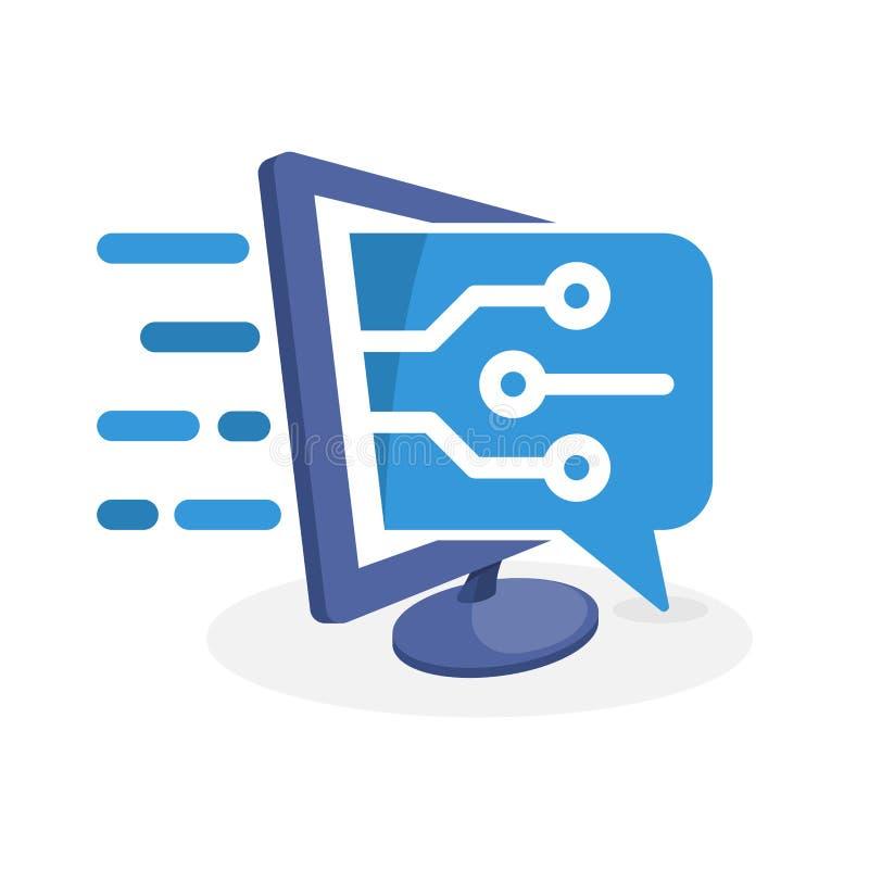 Vectorpictogramillustratie met digitaal media concept over informatietechnologische ontwikkeling royalty-vrije illustratie