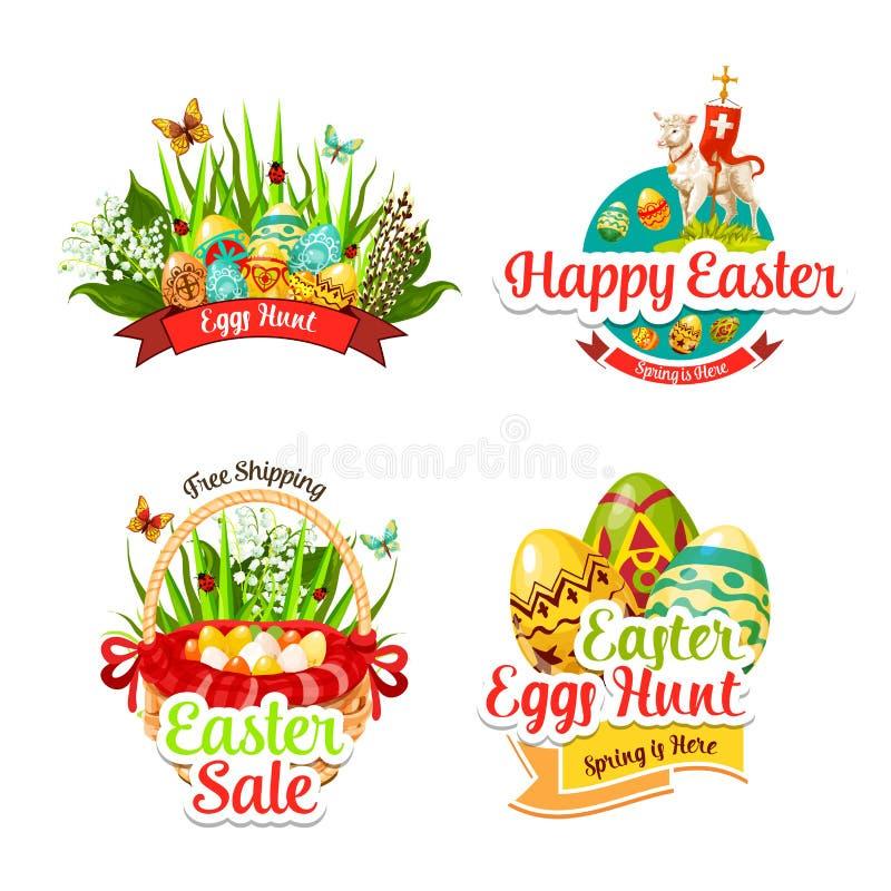 Vectorpictogrammen en paschal stickers voor Pasen-verkoop royalty-vrije illustratie