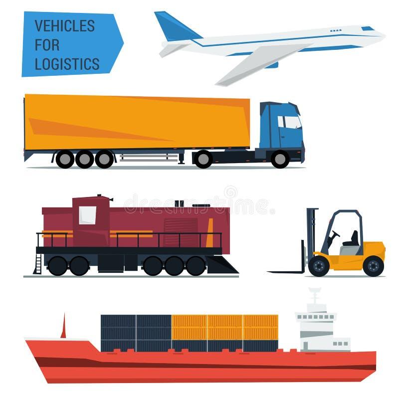 Vectorpictogrammen geplaatst de logistiek van het vrachtvervoer stock illustratie