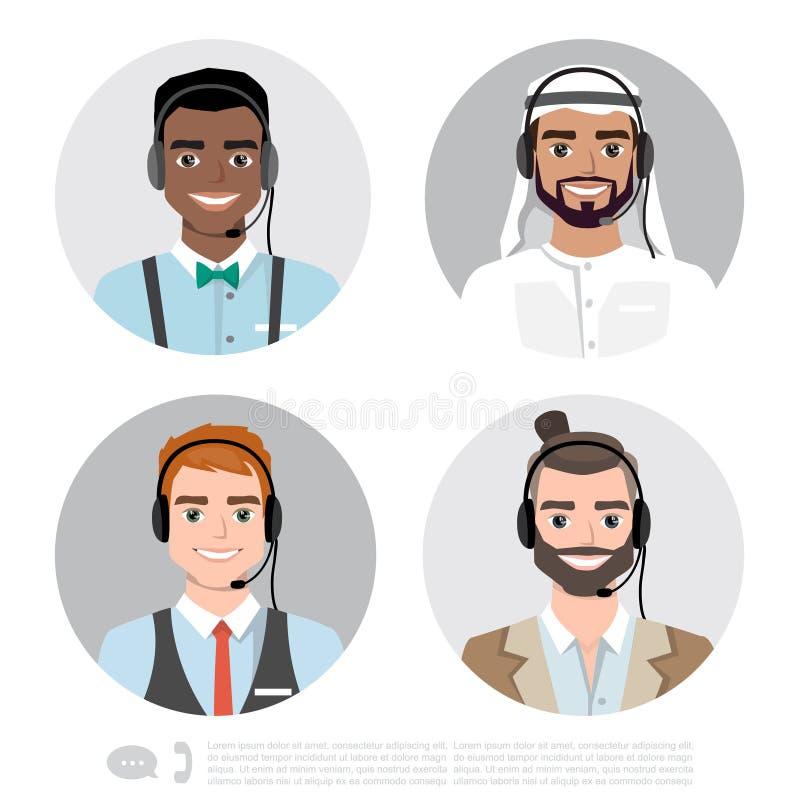 Vectorpictogrammen geplaatst multiraciale mannelijke call centreavatars in een beeldverhaalstijl met een hoofdtelefoon, conceptue stock illustratie
