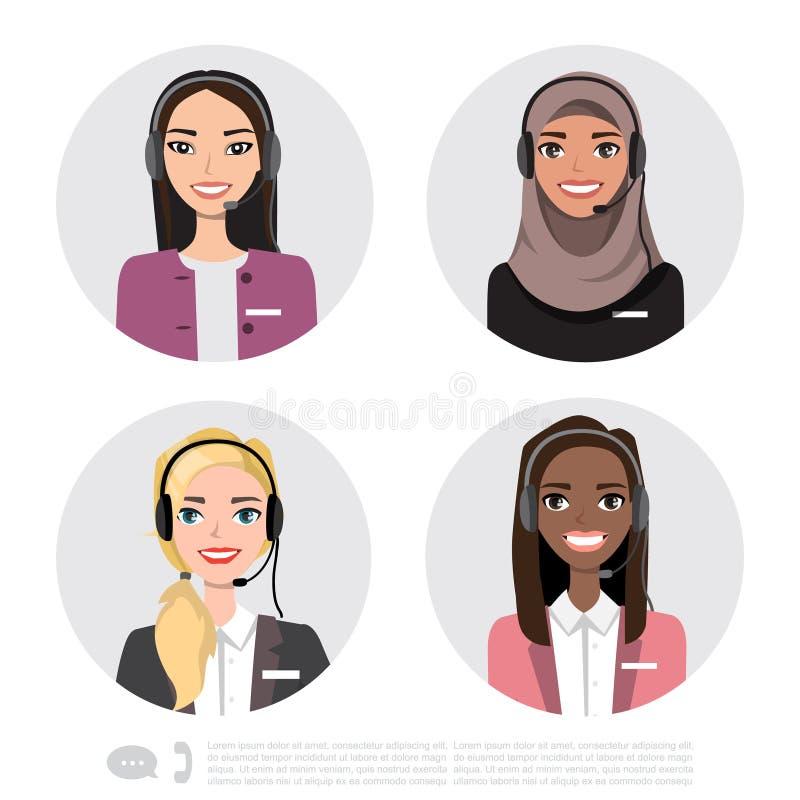 Vectorpictogrammen geplaatst multiraciale vrouwelijke call centreavatars in een beeldverhaalstijl met een hoofdtelefoon, conceptu royalty-vrije illustratie