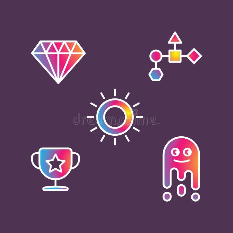 Vectorpictogrammen kleurrijk kristal, kop, zon en abstracte geometrische vormen op purpere achtergrond vector illustratie