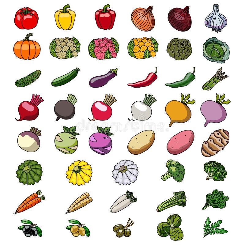 Vectorpictogrammen van groenten schetsen royalty-vrije illustratie