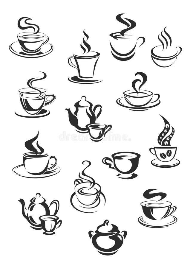 Vectorpictogrammen van koffie of theekoppen die voor koffie worden geplaatst stock illustratie