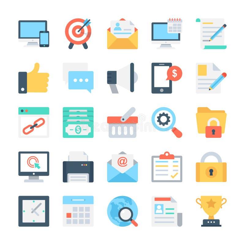 Vectorpictogrammen 1 van SEO en Marketing stock illustratie