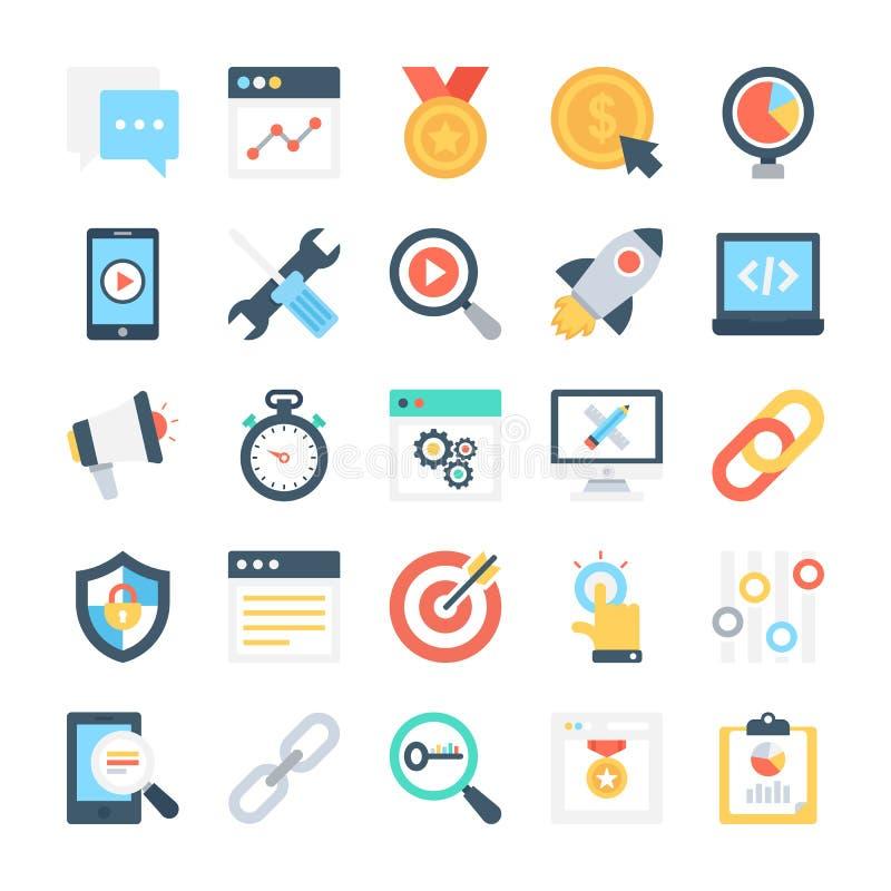 Vectorpictogrammen 6 van SEO en Marketing royalty-vrije illustratie