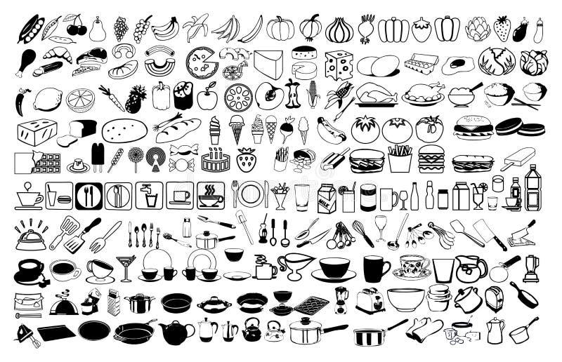 Vectorpictogrammen van voedsel stock illustratie