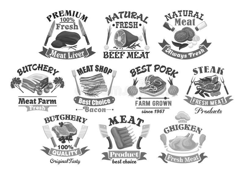 Vectorpictogrammen voor de vleeswaren van de slachterijwinkel stock illustratie