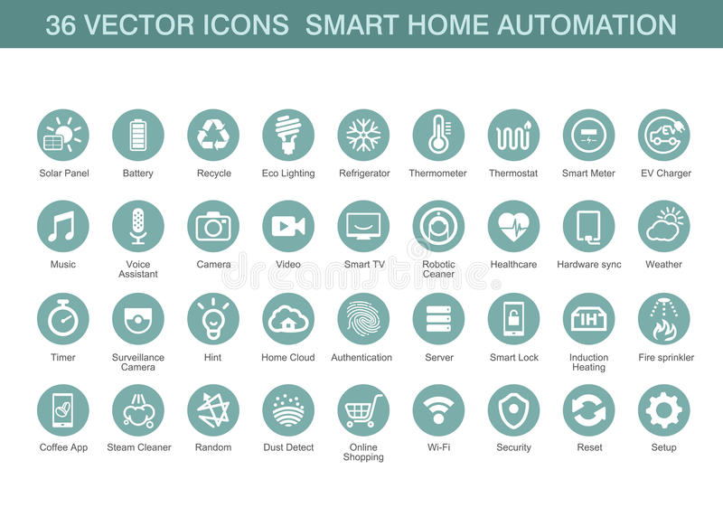 Vectorpictogrammen voor slimme huisautomatisering royalty-vrije illustratie