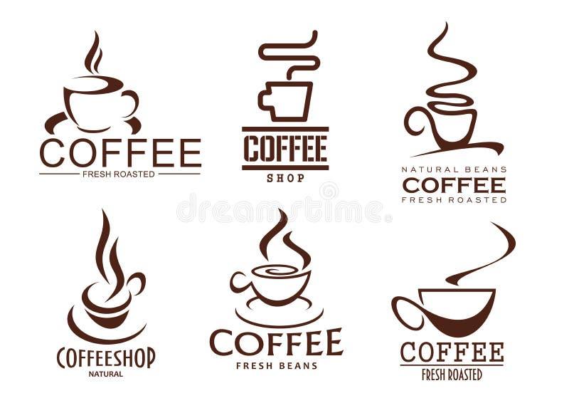 Vectorpictogrammenreeks koffiekoppen voor cafetariakoffie vector illustratie