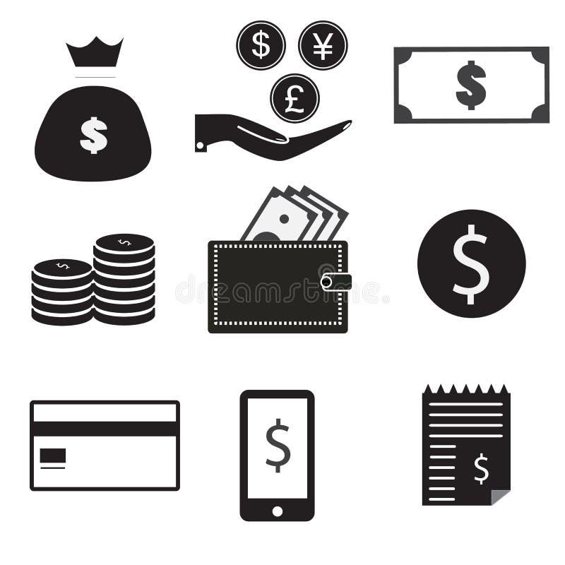 9 vectorpictogramreeks dollarzak, geld op hand, vector illustratie