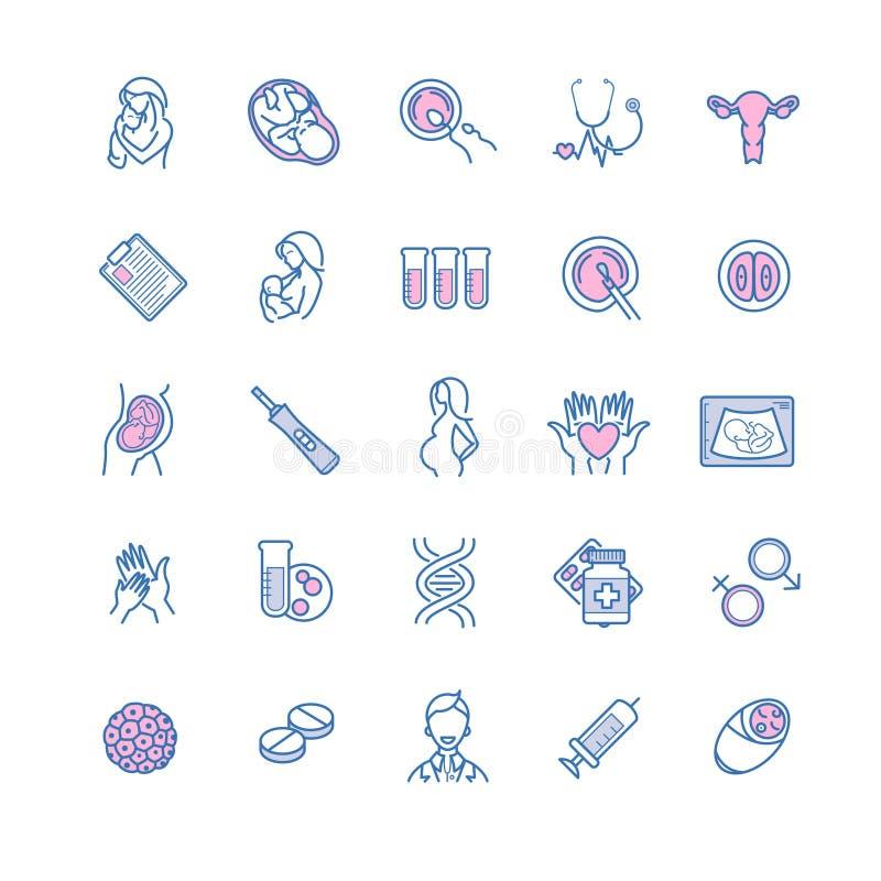 Vectorpictogramreeks van bemesting, zwangerschap en moederschap Gyne stock illustratie
