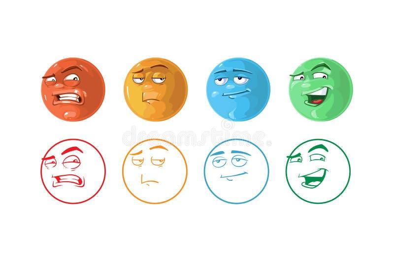 Vectorpictogramreeks van Terugkoppeling emoticons stock illustratie