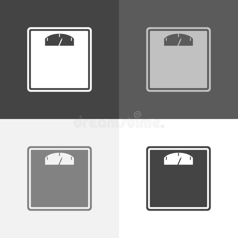 Vectorpictogramreeks vloerschalen voor het meten van het gewicht van royalty-vrije illustratie