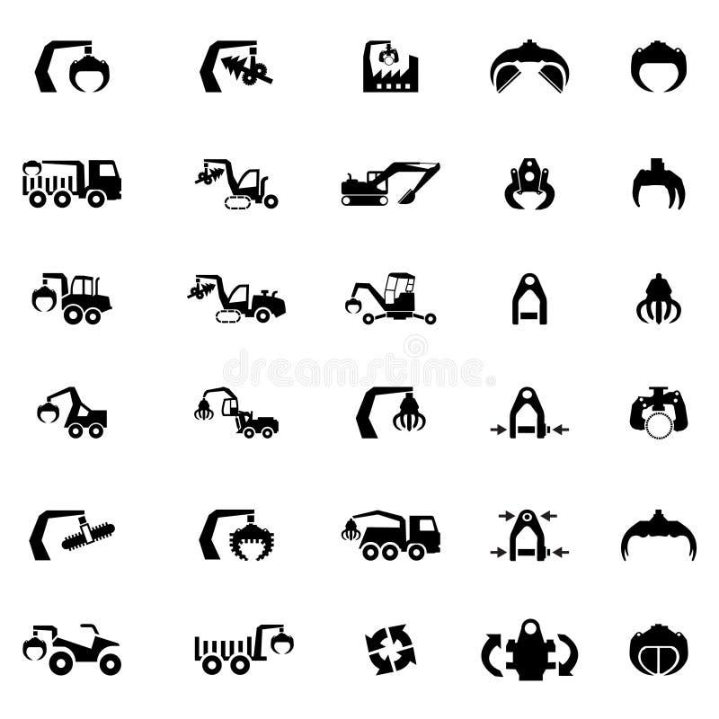 Vectorpictogramreeks Zware machine, tractor en voertuigen royalty-vrije illustratie