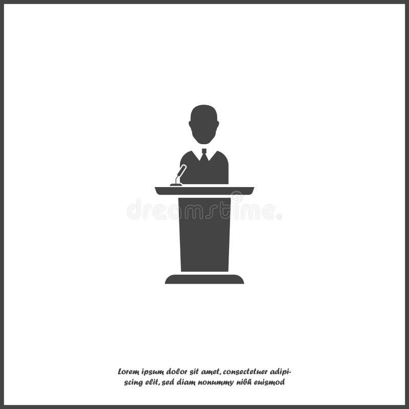Vectorpictogramspreker op het podium Politicus het uitzenden van het podium op wit geïsoleerde achtergrond Lagen voor gemakkelijk stock illustratie