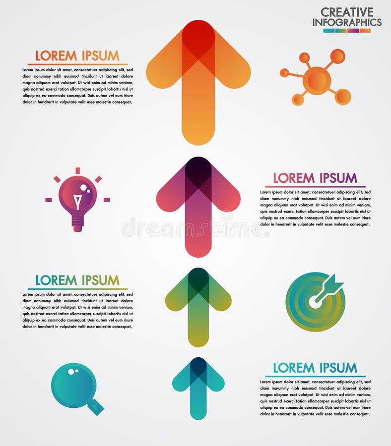 Vectorpijlen 4 infographicsmalplaatje van de stappenchronologie stap voor stap, diagramgrafiek, grafiekpresentatie Bedrijfsvoorui vector illustratie