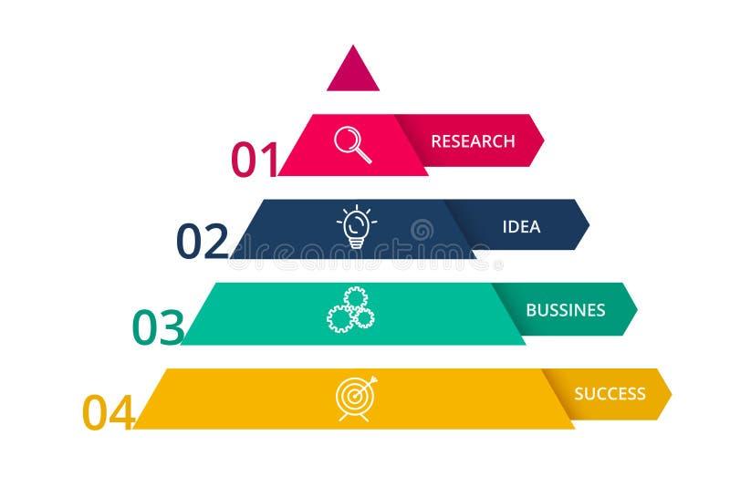 Vectorpiramide op infographic pijlen, diagramgrafiek, de presentatie van de driehoeksgrafiek Bedrijfschronologieconcept met 4 del stock illustratie