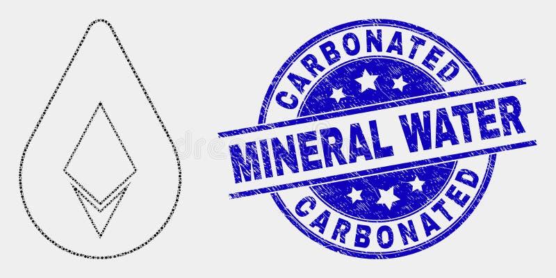Vectorpixelated Crystal Drop Icon en Grunge Sprankelend Mineraalwaterwatermerk stock illustratie
