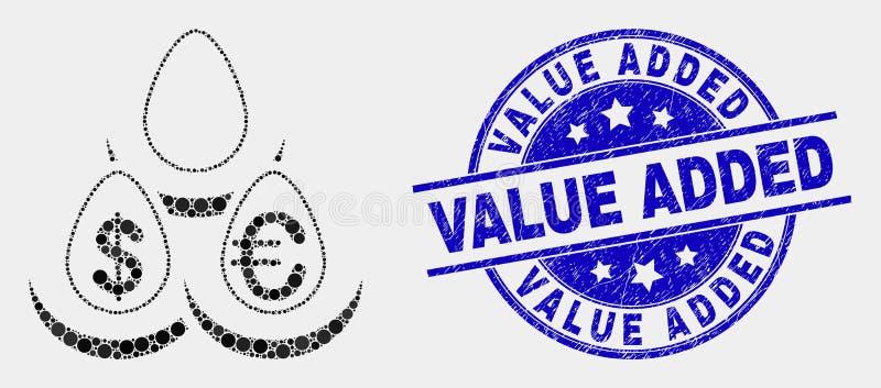 Vectorpixelated-de Eierenpictogram van de Muntstorting en Gekraste Zegel Op de toegevoegde waarde vector illustratie