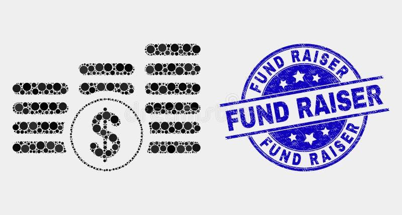 Vectorpixelated-de Stapelspictogram van het Dollarmuntstuk en Gekrast Fonds - de Verbinding van de fokkerszegel vector illustratie