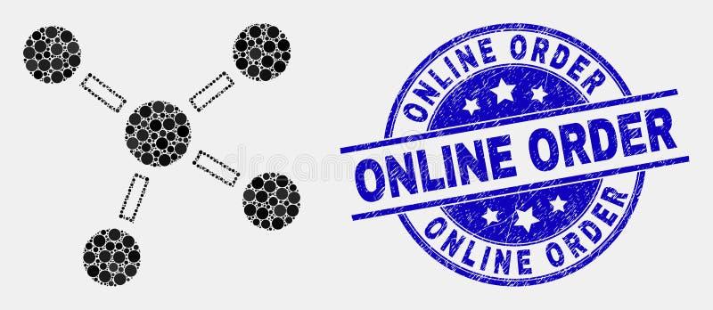 Vectorpixelated-Verbindingenpictogram en Gekraste Online Ordezegel stock illustratie