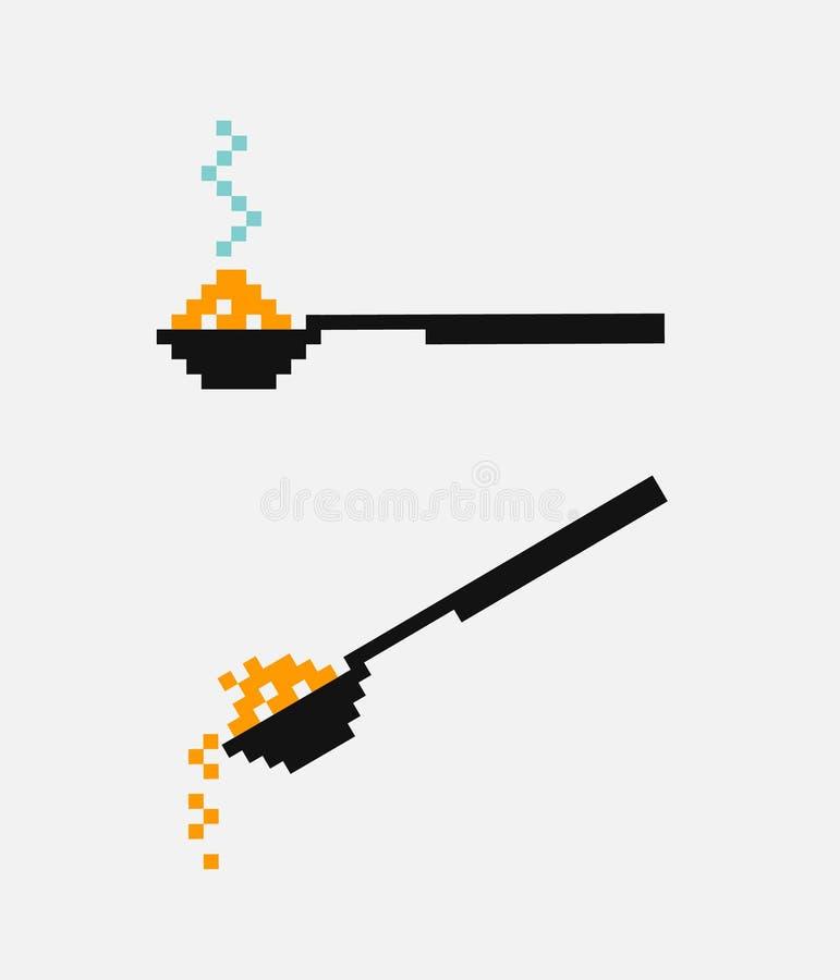 Vectorpixellepel met heet voedsel Een lepel giet de suiker zout voedsel stock illustratie