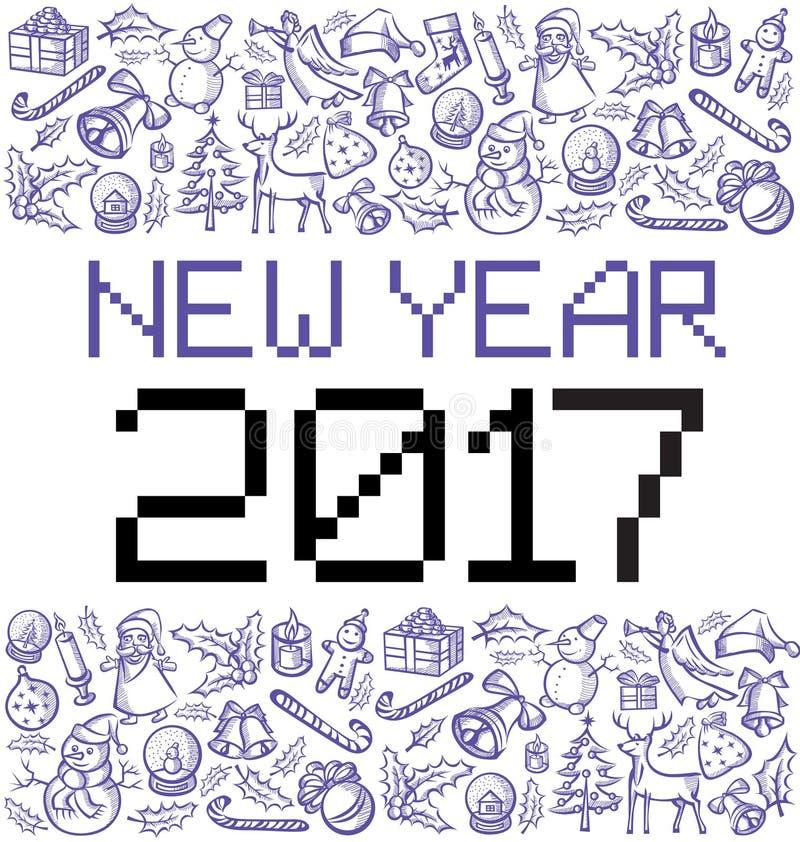 Vectorpixelnummer 2017 vector illustratie