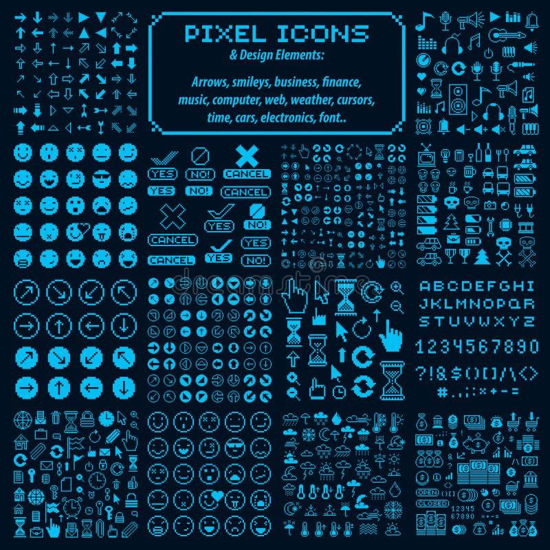 Vectorpixelpictogrammen, inzameling van grafische elementen met 8 bits royalty-vrije illustratie