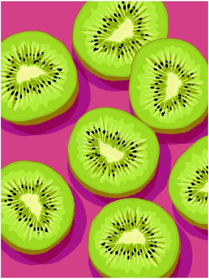 Vectorplakken van kiwi op magenta achtergrond royalty-vrije illustratie