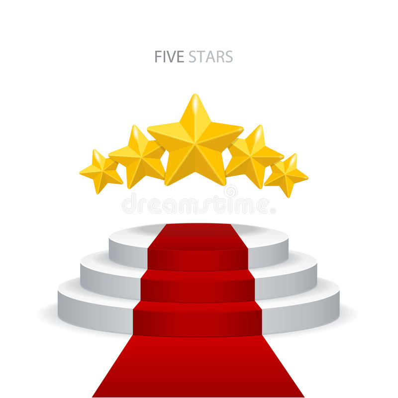 Vectorpodium met rode tapijt en sterren vector illustratie