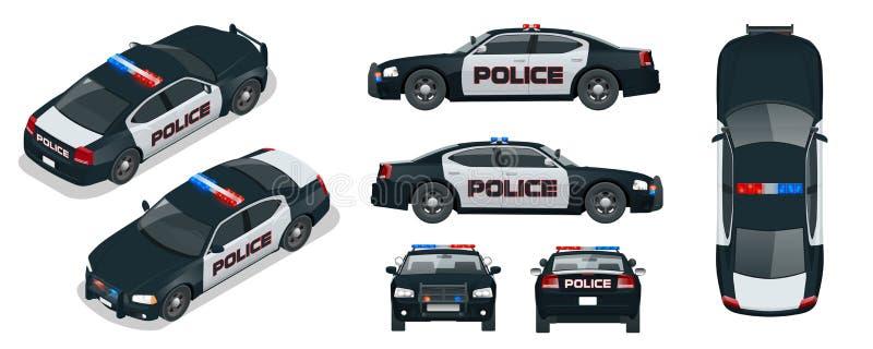 Vectorpolitiewagen met dak opvlammende lichten, een sirene en emblemen stock illustratie