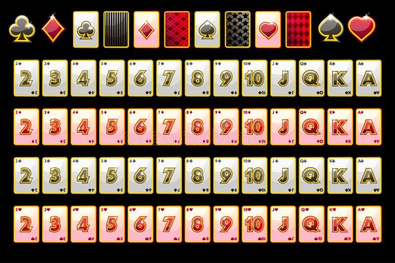 Vectorpookspeelkaarten, volledige dek en kaartsymbolen voor gokautomaten en een loterij Zwarte achtergrond in afzonderlijk vector illustratie