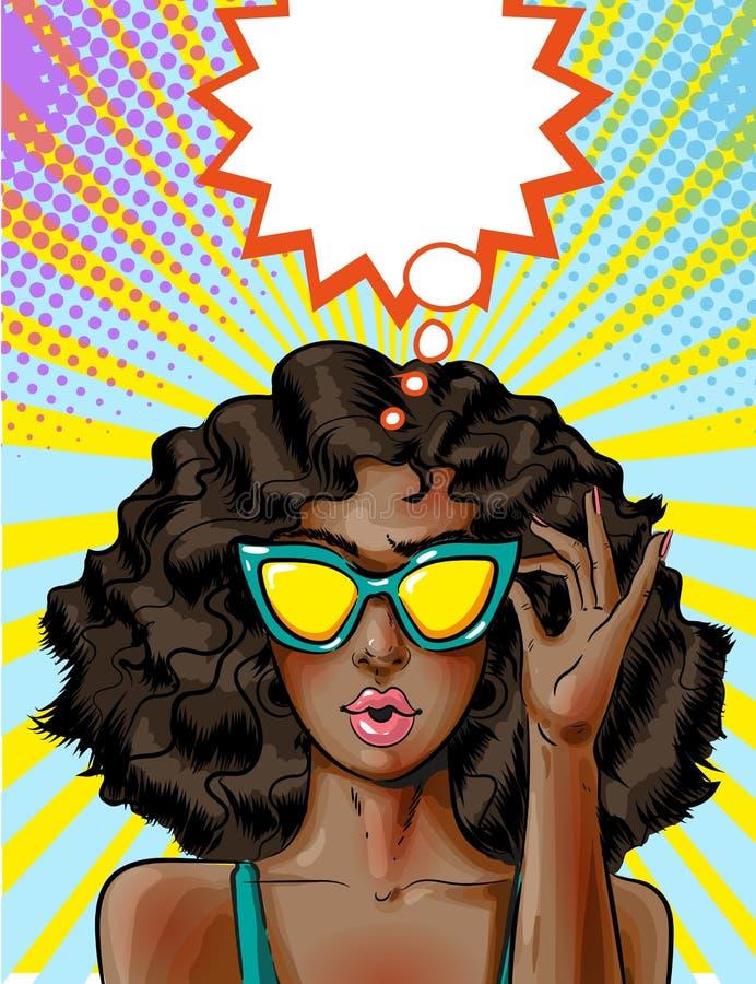 Vectorpop-art Afrikaanse Amerikaanse vrouw in gele zonnebril stock illustratie
