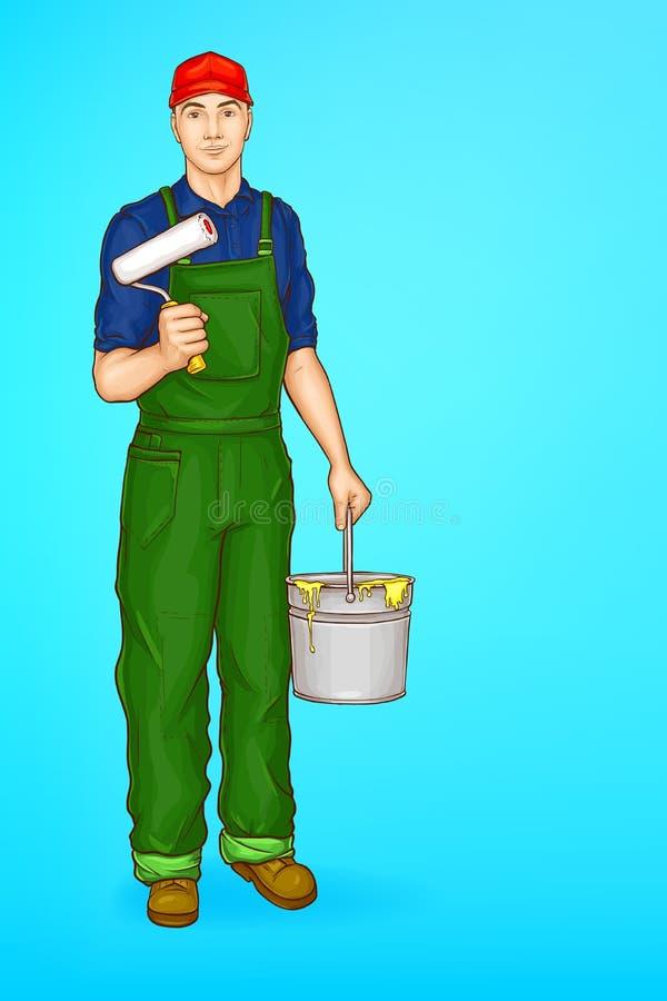Vectorpop-art mannelijk karakter - schilder, decorateur vector illustratie