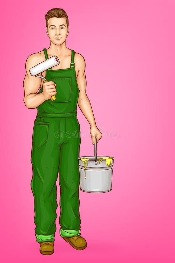 Vectorpop-art sexy mannelijk karakter - schilder royalty-vrije illustratie