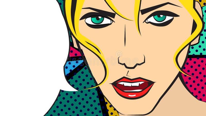 Vectorpop-artillustratie van een eerlijke haar meisje en het spreken bel vector illustratie