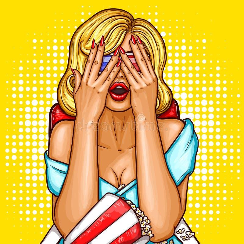 Vectorpop-artillustratie van een opgewekte blonde vrouwenzitting als ciemavoorzitter en het behandelen van haar gezicht met haar  stock illustratie