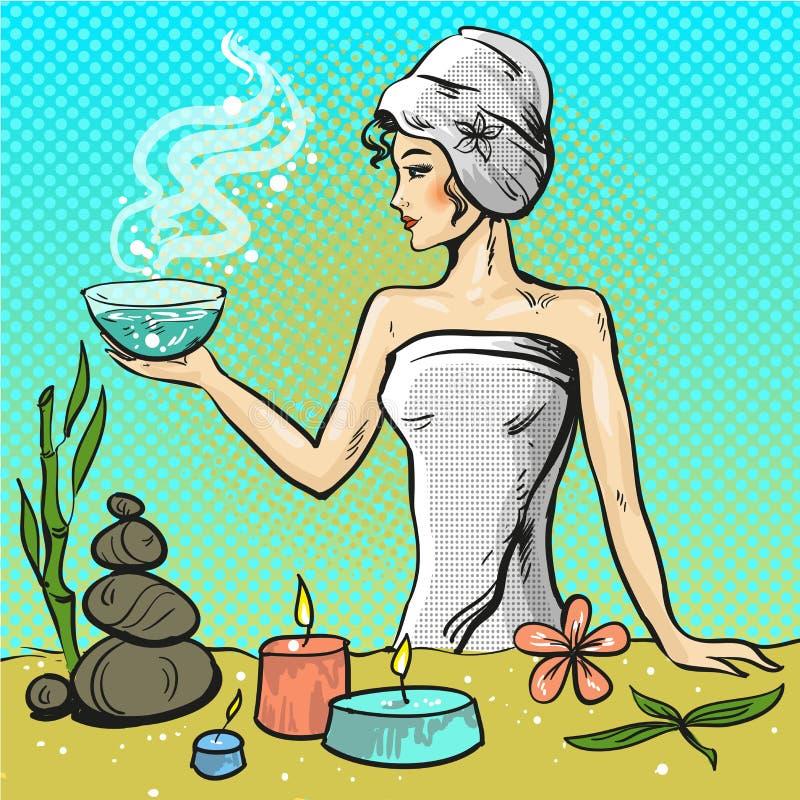 Vectorpop-artillustratie van vrouw in de salon van de kuuroordschoonheid royalty-vrije illustratie